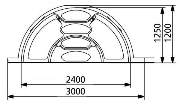 Polyester-Treppe 3000, komplett azurblau